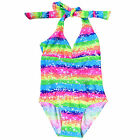 Kids Summer Dress Rainbow Color Backless Bow  Lace Tankini Bikini Swimwear Suit