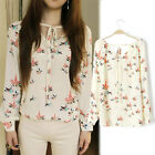 New Women Ladies Chiffon Floral Print Long Sleeve Casual Shirt Blouse Tops