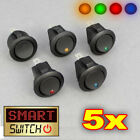 5 x SmartSwitch 12V Round Rocker ON/OFF Switch Car/Van/Dash/Boat LED/Light BLACK