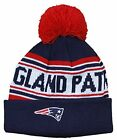 New England Patriots NFL Football Toddlers Cuffed Knit Pom Hat Cap - Navy Blue