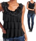 Black Tiered Fabric Floral Neck/Sleeveless/Tank Top