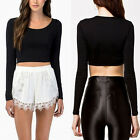 Women's Casual Scoop Neck Long Sleeve Stretch Crop Top T-Shirt Slim Top 5 Colors