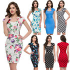VINTAGE 50's 60's Wiggle Floral Pin Up  Rockabilly Summer Cocktail Pencil Dress