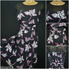 NEW PLUS SIZE RETRO TEA DRESS BLACK WHITE PINK PURPLE LILY FLORAL PRINT 16 - 28