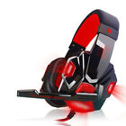 Surround Stereo HandFree Gaming Headset USB 3.5mm Headphone LED with Mic for PC