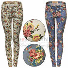 WOMENS LADIES ZIP SKINNY FLORAL JEANS DENIM BLUE JEAN SLIM FIT TROUSERS FLOWERS