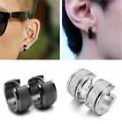2pcs Punk Rock Men's Women's Hiphop Titanium Steel Hoop Frosted Earrings Jewelry