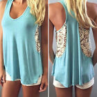 Sexy Women Summer Vest Top Sleeveless Blouse Casual Tank Tops Lace T-Shirt