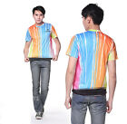 Rainbow Quick-drying Sports Cycling Jersey Round Top 3D T-Shirt Tops Tee CC3026