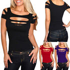 Sexy Womens Ripped Cut out Off Shoulder T-shirt Tops Blouse Punk Club Party Tee