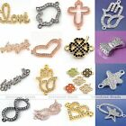 1x Love Friendship Crystal Side Way Bracelet Connector Charms Beads Findings DIY