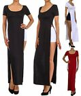 PLUS Open Leg Sides double SLITS Split Flare SKIRT Short Sleeve Maxi Long Dress