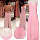 Pink LA Long Chiffon Bridesmaid Formal Gown Ball Party Evening Prom Dress
