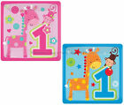 "32 Small 7"" Square Paper Plates 1st First Birthday Party Blue / Pink Zoo Animals"
