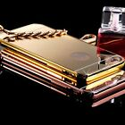 New Luxury Aluminum Ultra-thin Mirror Metal Case For iPhone 5 5s/ 6/ 6 Plus Gold