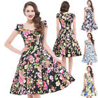 50's 60's Vintage V NECK Style Rockabilly Retro Floral Swing Pin up Circle Dress
