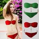 New Women Metal Pendant Swimsuit Set Padded Bra Beach Bikini Set Swimwear Suit