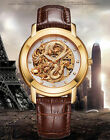 Men's Luxury gold Dragon skeleton self-wind mechanical Wrist watch Leather band