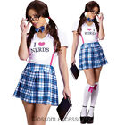 CL492 I Love Nerds Naughty Nerd School Girl Uniform Student Fancy Dress Costume