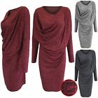 NEW LADIES DRAPE RUCHED FRONT MARL KNIT DRESS WOMEN LONG JUMPER LOOK BATWING TOP