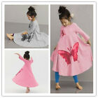 Cute Baby Girls Long Sleeve Loose Butterfly Print T-shirt Flared Beach Dress