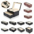 Faux Leather Watch Case Storage Display Box Organiser Jewelery Glass Top