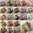 Women Multiple Pictorial Bangle Friendship Multilayer Leather Weave Braclet