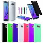 TPU Rubber Gel Jelly Case Cover+Stylus+Privacy Film For Samsung Galaxy Note 5