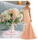 HARMONY Peach Blush Chiffon Embellished Bridesmaid Ballgown Dress UK Sizes 6 -18