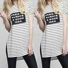 Women Summer Short Sleeve Casual Strip Loose T-Shirt Long Tops Blouse Dress M-XL