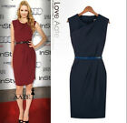 HOT Womens Sleeveless Pleated Neck Bodycon Formal Party Wiggle Pencil Midi Dress