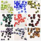 12pcs 10x8mm Faceted Glass Charms Stripe Rondelle Findings Lampwork Spacer Beads