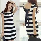Fashion Womens Summer Striped Bowknot Backless Short Sleeve Bodycon Mini Dress