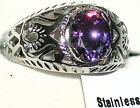 Men's Unique Amethyst Stainless Steel Ring  * February Birthstone *  Exclusive