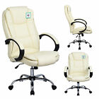 Cream Luxury Swivel Executive PC Computer Desk Office Chair