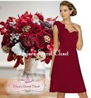 ASHA Berry Red Knee Length Corsage Chiffon Bridesmaid Occasion Dress Size 6 - 18
