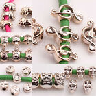 20/40PCS CCB Rose Gold Plated Big Hole Spacer Loose Beads Note Skull Owl 7 Style