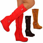 Ladies Womens Platform Wedge Knee Boots Long Suede High Heel Casual Boots Size