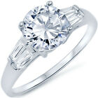 Sterling Silver 3 Stone Clear CZ Engagement Wedding Promise Love Ring Size 3-11
