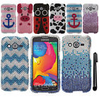 For Samsung Galaxy Avant G386T DIAMOND BLING CRYSTAL HARD Case Phone Cover + Pen