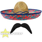 BLUE STRAW SOMBRERO HAT + MOUSTACHE MEXICAN  HOLIDAY HEN STAG BANDIT FANCY DRESS