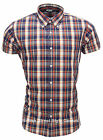 Relco Short Sleeve Bold Check Shirt CK21 - Cream / Navy 60s Button Down Mod Skin