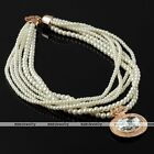 1x Women Bib Choker Multilayer Gemstone Pendant Faux Pearl Round Beads Necklace