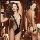 Sexy Lingerie Women's Lace Dress Underwear Black Babydoll Sleepwear G-string AS