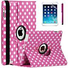 For Apple iPad 2 3 4 mini Air Premium PU Leather Smart Case Polka Dot Rosy Pink