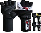 RDX Gel Weight Lifting Gloves Bodybuilding Gym Leather Long Straps Grip Training