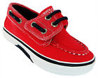 Sperry Halyard Jr Kid's Red Canvas Velcro Deck Boat Shoes New