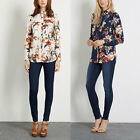 New Womens Ladies White/Navy Floral Print Long Sleeve Button Down Shirt Blouse