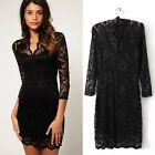 Women's Hollow Lace Stretch Clubwear Cocktail Evening Party Bodycon qipao Dress