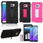 Diamond Stud Hybrid Combo Stand Cover Case+Stylus+Film For Samsung Galaxy Note 5